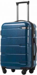 Coolife luggage expandable suitcase PC-ABS spinner built-in TSA Lock 20in carry on