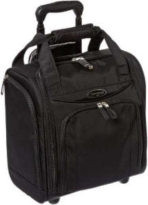 Samsonite upright wheeled carry-on under seater luggage, black, small